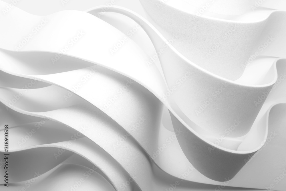 Structure with wavy white elements, abstract background