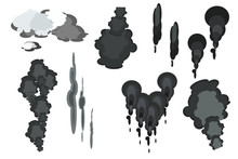 Set Of Smoke Clouds Isolated O...