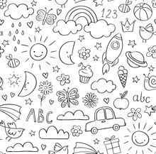 Kids Doodle Pattern. Childrens Pattern In Black And White. Baby And Children Related Objects And Design Elements. Seamless Vector Background.