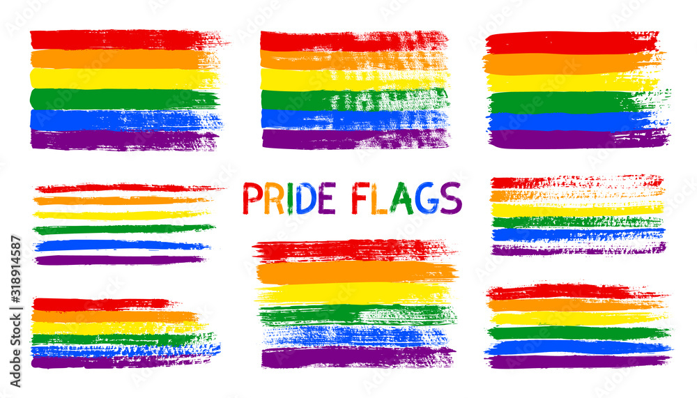 Fototapeta Grunge LGBT pride flag. Abstract rainbow flag texture hand drawn with a ink. Vector Multicolored background