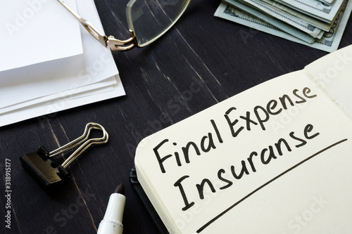 Canvas Print Final expense insurance memo in the black notepad.