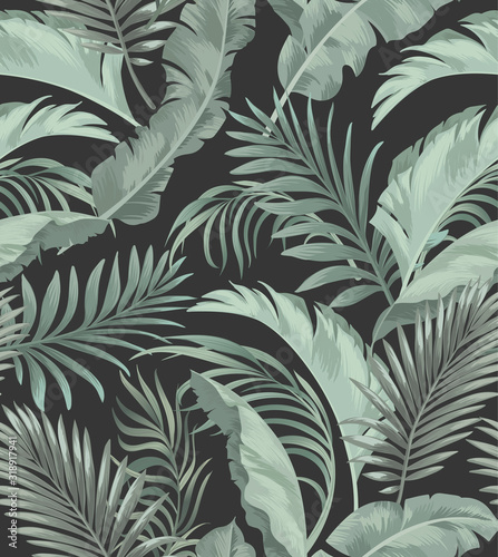 Jungle vector pattern with tropical leaves.Trendy summer print. Exotic seamless background.