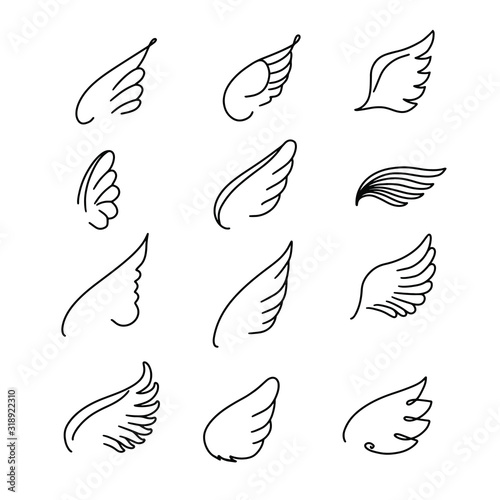 Vector wings icon set. Bird or angel wing silhouette illustration design feather. Wings icon sketch collection hand drawing. Wall mural