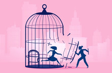 Vector Of A Woman Escaping Birdcage Being Helped By Business Woman