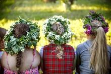 Latvian Culture Tradition. Ligo Fest Midsummer In Latvia