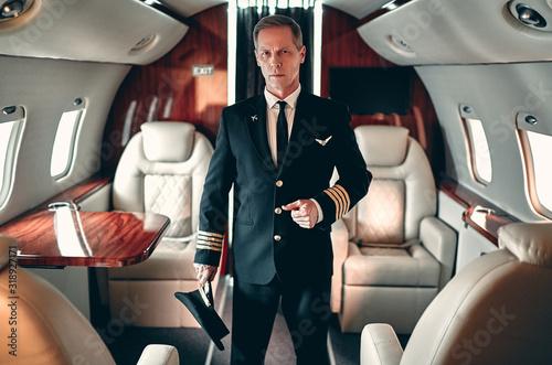 Vászonkép Pilot in private aircraft
