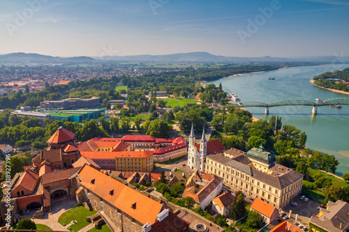 View of the historic town from the Esztergom basilica in Hungary Fototapeta