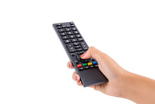 Woman Hand Holding TV Remote C...