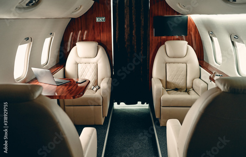 Fototapeta Cabin of private jet obraz
