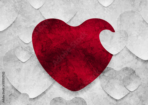 Fototapeta Contrast red and grey hearts grunge concept background. Abstract Valentines Day greeting card. Vector illustration obraz