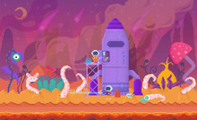 Pixel Art Game Location, Cosmic Area, Venus Planet Surface. Rocket And Alien, Space Plants And Retro Gaming Interface. Spacemen Fighting With Foreign Planet Monster, Backdrop. Pixelated Video-game