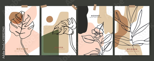 Set modern floral poster. Outline flower and plant. Pastel spots