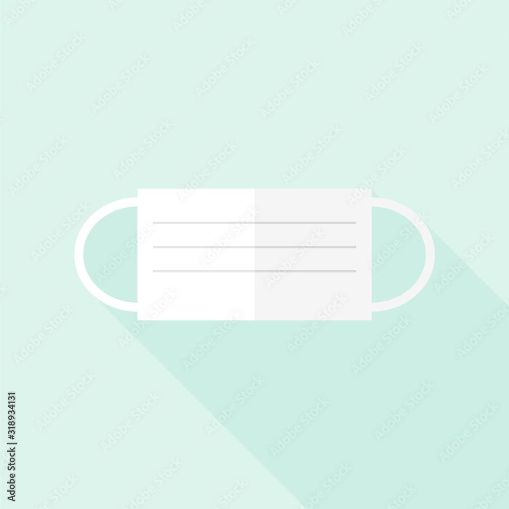 Fototapeta マスク・感染症対策・花粉症イメージ素材 - 風邪・インフルエンザ・コロナウイルス・アレルギーを予防するマスク(フラットタイプ)