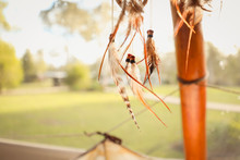 Cluster Of Dreamcatchers Hanging In Glamping Tent