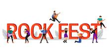 Rock Fest Flat Color Vector Il...