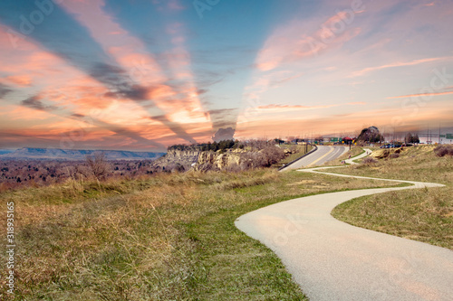 Obraz na plátně SCENIC VIEW OF LANDSCAPE AGAINST SKY DURING SUNSET