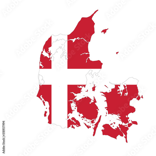Fotografie, Obraz vector map of Denmark with ensign on white background