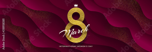 8 March International women's day vector illustration - glitter gold ribbon in the shape of sign eight on a burgundy color wavy layered background. Design for greeting card, invitation, flyer and etc