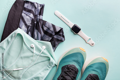 Obraz na plátně Healthy lifestyle, sport or athlete's equipment set on bright background