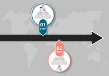 Modern Road Infographic Template With Circles. Business Concept With 2 Options And Arrows. Two Steps For Content, Flowchart, Timeline, Levels, Marketing, Presentation
