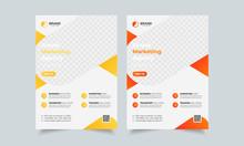 Modern Flyer Design Template, Poster Report Leaflets Presentation Cover Brochure Pamphlet Annual, A4 Print Layout With Blue Color Vector Illustration