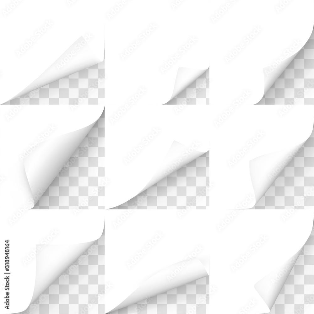 Fototapeta Curled corners, paper sheet edges vector realistic illustrations set