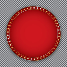 Round Red Banner With Golden F...