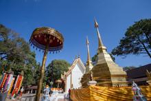 The Golden Pagodas In Wat Phra That Doi Tung Temple, Chiang Rai , Thailand.