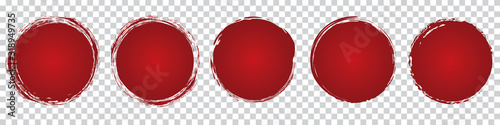 Obraz red round brush painted circle banner on transparent background - fototapety do salonu