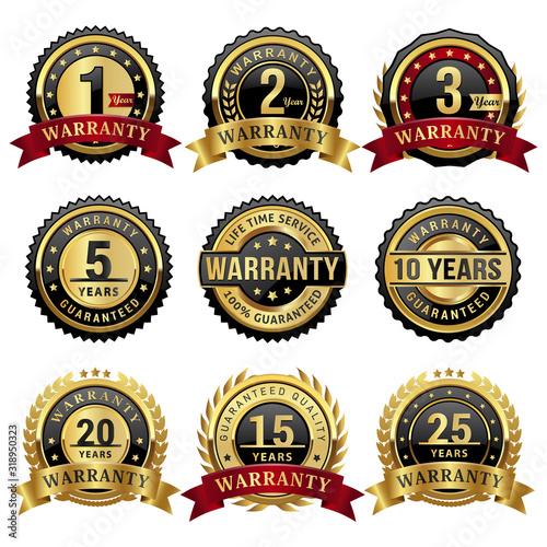 Fotomural set of warranty badges and labels