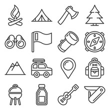 Hiking And Camping Icons Set. Line Style Vector