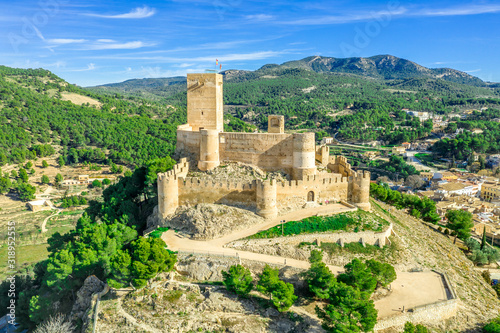 Photo Aerial view of Biar castle in Valencia province Spain with donjon towering over