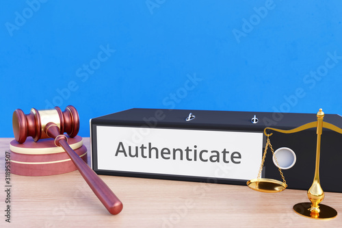 Authenticate – Folder with labeling, gavel and libra – law, judgement, lawyer Wallpaper Mural