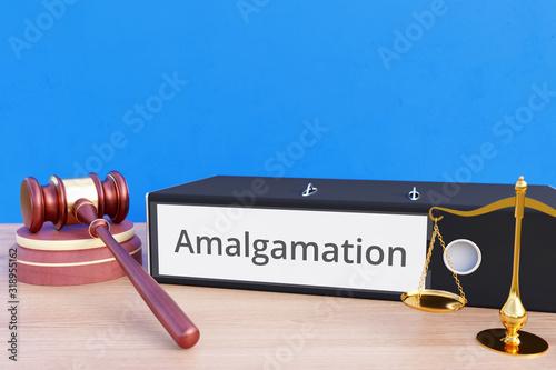 Photo Amalgamation – Folder with labeling, gavel and libra – law, judgement, lawyer