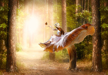 Elf Woman In Hat Sitting On Fantasy Giant Large Mushroom Releasing Butterfly From Hand In Magical Enchanted Fairy Tale Forest, Fairytale Path Road Leading To Fabulous Glow, Trail In Wood Goes To Glare