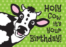 Vector Illustration Of A Cow Wishing A Happy Birthday. Birthday Greeting Card. Funny Greeting Card. Cow Greeting Card