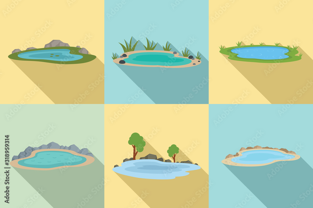 Fototapeta Lake icons set. Flat set of lake vector icons for web design