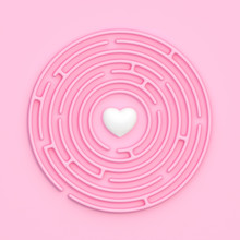White Heart Inside Pink Circular Maze On Pastel Pink Background. 3d Illustration Pure Love, Relationship And Search Concept. Flat Design.