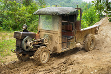 Vintage Self Made Farmer Tractor In Chinese Countryside.