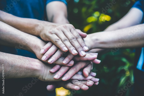 Photo People hands assemble as a connection meeting teamwork concept