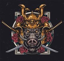 Ferocious Wild Boar Head In Samurai Helmet