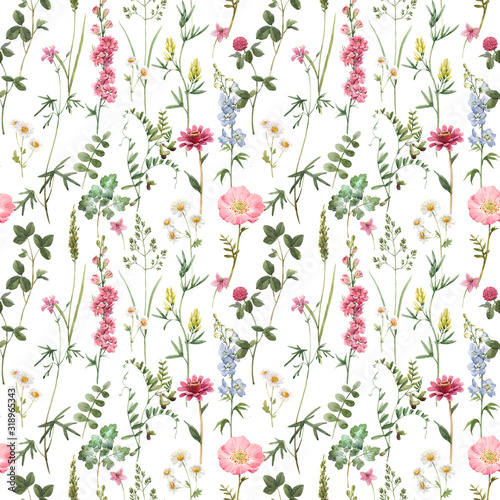 Beautiful floral summer seamless pattern with watercolor hand drawn field wild flowers. Stock illustration.