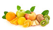 Fresh fruits healthy diet concept. Raw mixed vegan juicy food background, green apple, orange isolated on white. Variety of fresh citrus fruit, detox health clean eating concept