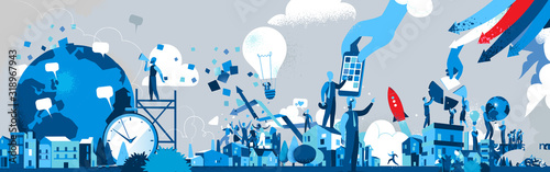 Fotomural Società dell'Innovazione e della Comunicazione - Illustrazione vettoriale