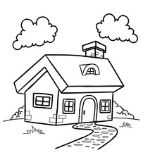 Funny Fairy Tale House Children Coloring Page Isolated On White. Building, Countryside.