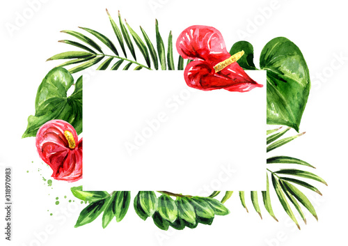 Tropical card, Wedding invitation, save the date, thank you, brochure, invite template and background Wallpaper Mural