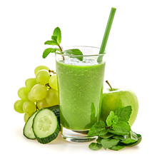 Freshly Blended Green Fruit Smoothie In Glass, Healthy Detox Vitamin Diet Or Vegan Food Concept. Raw Fresh Vitamins, Breakfast Smoothie Drink With Spinach, Apple, Cucumber Isolated On White.