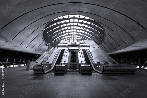 Low Angle View Of Escalator At Airport - fototapety na wymiar