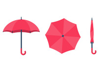 Set Of Umbrellas. Top View, Fr...