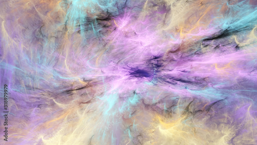Fototapeta Abstract pink and orange fantastic clouds. Colorful fractal background. Digital art. 3d rendering.